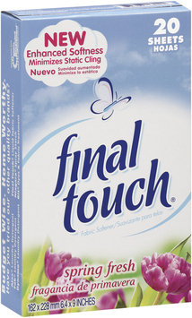Final Touch Sheets Spring Fresh Fabric Softener 20 Ct Box