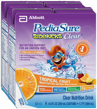 PediaSure Sidekicks® Clear Nutrition Drink Tropical Fruit 4 - 6.8 oz cartons