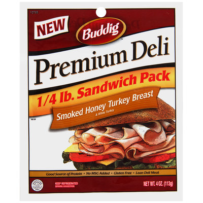 Buddig™ Premium Deli Smoked Honey Turkey Breast 4 oz. Pack