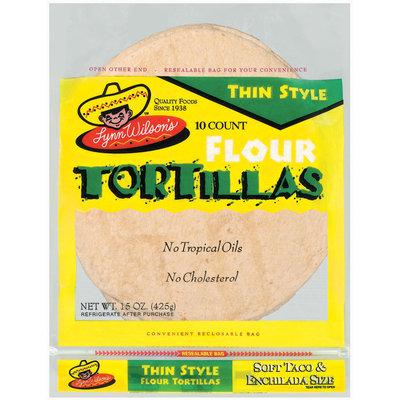 Lynn Wilson's Thin Style Soft Taco & Enchilada Size 10 Ct Flour Tortillas 15 Oz Bag