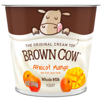 Brown Cow Apricot Mango on the Bottom Cream Top Yogurt 6 oz. Cup