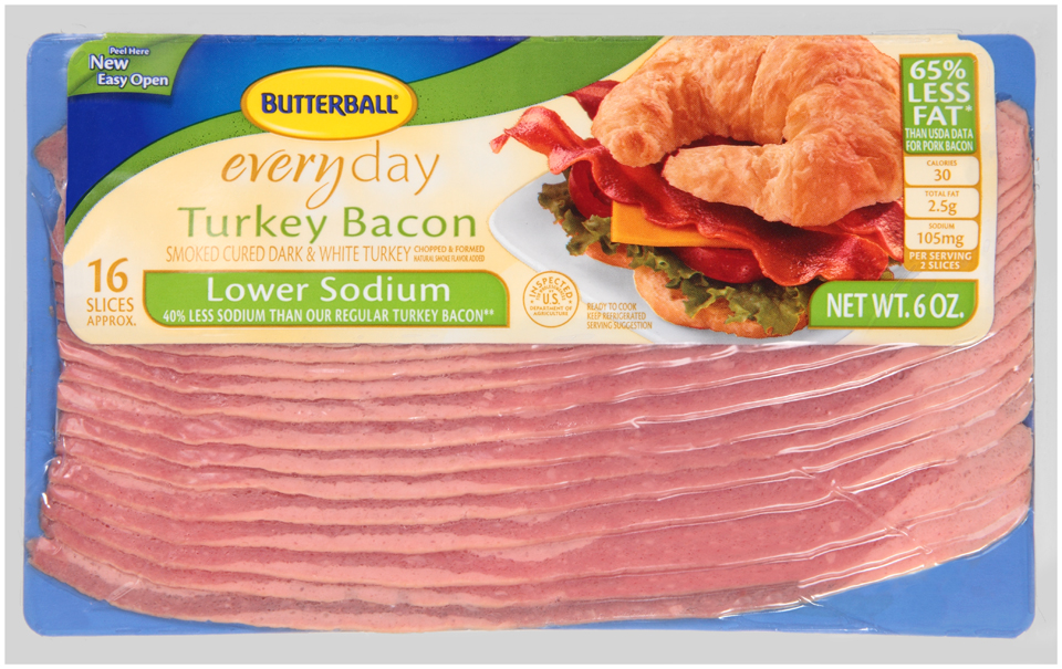 Butterball® Everyday Lower Sodium Turkey Bacon 6 oz. Package