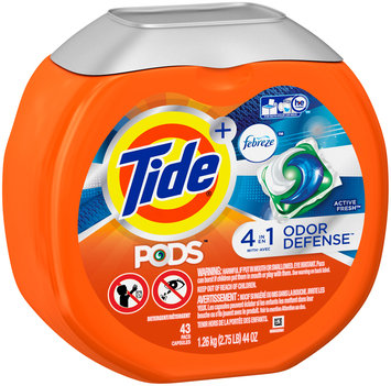 Tide PODS Plus Febreze Odor Defense Laundry Detergent Pacs, Active Fresh Scent, 43 loads, Designed For Regular and HE Washers