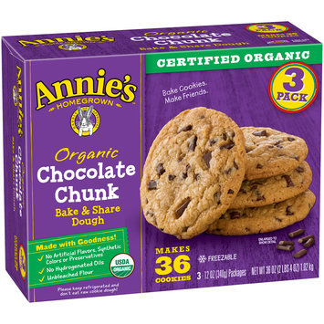 Annie's™ Organic Chocolate Chunk Bake & Share Dough 3-12 oz. Packages