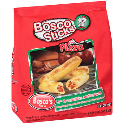 "Bosco Sticks® Pizza 4"" Breadsticks Stuffed with Pepperoni, Mozzarella Cheese & Pizza Sauce 8 ct Bag"