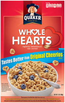 Quaker Whole Hearts Lightly Sweetened Oat Cereal 17.2 Oz Box