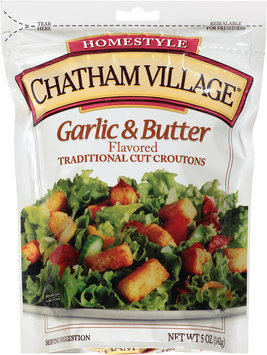 Chatham Village® Garlic & Butter Flavored Traditional Cut Croutons 5 oz. Bag