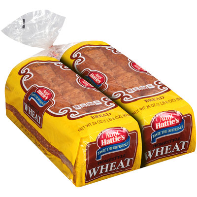 Aunt Hattie's® Homestyle Wheat Bread 2-24 oz. Loaves
