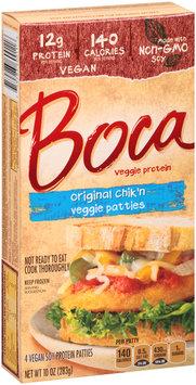 Boca Original Chik'n Veggie Patties Made with Non-GMO Soy 4 ct Box