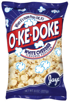 O-Ke-Doke White Cheddar Flavored Popcorn 8 Oz Bag