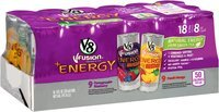 V8 V-Fusion® +Energy Pomegranate Blueberry/Peach Mango Vegetable & Fruit Juice 18-8 fl.oz. Cans