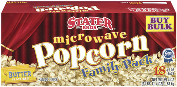 Stater Bros. Butter Flavored 3.3 Oz Microwave Popcorn 18 Ct Box