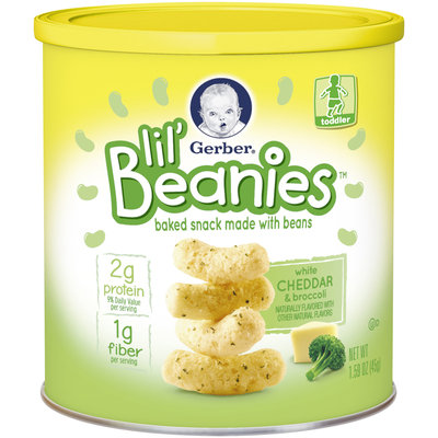 Gerber® Lil' Beanies™ White Cheddar & Broccoli Bean & Rice Snack 1.59 oz. Canister