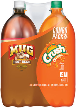 Mug® Root Beer/Orange Crush® Combo Pack 4 Pack 2L Plastic Bottles