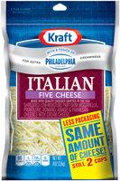 Kraft Natural Cheese Italian Five Cheese W/Touch of Philadelphia Shredded Cheese 8 Oz Peg