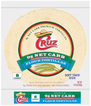 Cruz Flour Soft Taco Size 8 Ct Tortillas 13.5 Oz Bag
