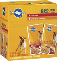 Pedigree Little Champions Meaty Ground Dinner Beef/Beef & Cheese 5.3 Oz Pouches Wet Dog Food 8 Ct Box