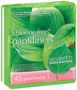 Seventh Generation Chlorine Free Pantiliners Feminine Pads 45 Ct Wrapper