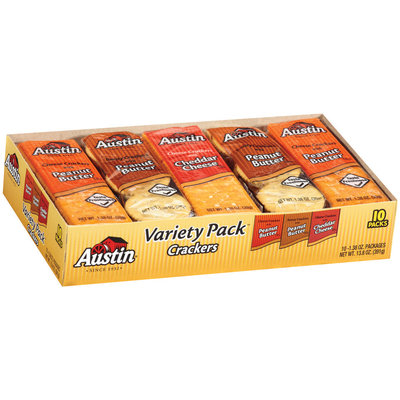 Austin Variety Pack Cheese W/Peanut Butter/Toasty Crackers W/Peanut Butter/Cheese Crackers W/Cheddar Cheese Cracker Sandwiches 13.8 Oz Box