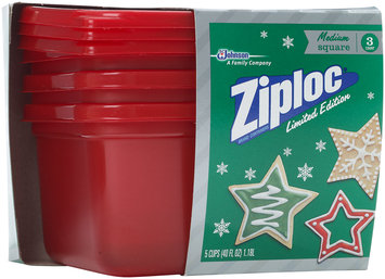 Ziploc® Medium Square Holiday Red Containers 3 ct Box