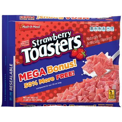 Malt-O-Meal® Strawberry Toasters® Cereal 49.5 oz. ZIP-PAK®
