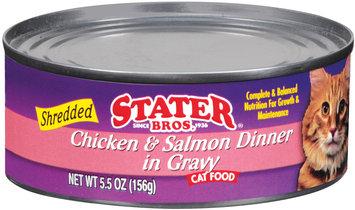 Stater Bros. Shredded Chicken & Salmon In Gravy Cat Food 5.5 Oz Can