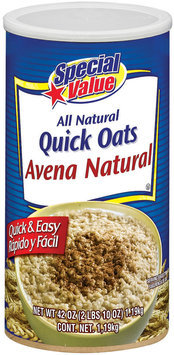 Special Value  All Natural  Quick Oats 42 Oz Canister