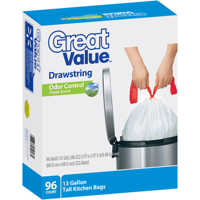 Great Value™ Odor Control Drawstring Tall Kitchen Bags