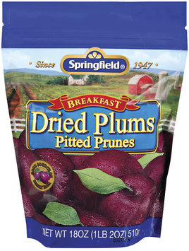Springfield Breakfast Pitted Prunes Dried Plums 18 Oz Stand Up Bag