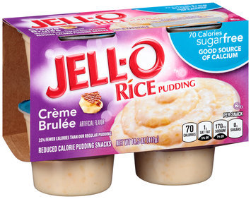 Jell-O Sugar Free Creme Brulee Rice Pudding Reduced Calorie Pudding Snacks 4 ct. Cups
