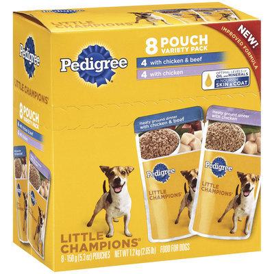 Pedigree Little Champions Meaty Ground Dinner Chicken/Chicken & Beef 5.3 Oz Pouches Wet Dog Food 8 Ct Box