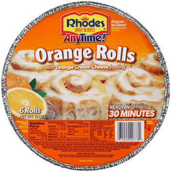 Rhodes® Anytime!™ Orange Rolls with Orange Cream Cheese Frosting 6 ct Tray