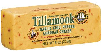 Tillamook Garlic Chili Pepper Cheddar Deli Cut Cheese 8 Oz Chunk
