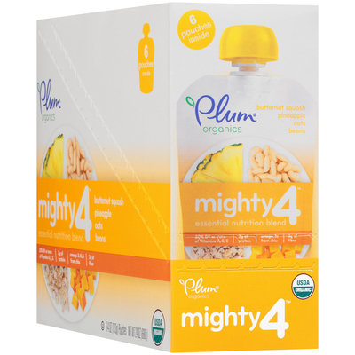 Plum Organics® Mighty 4™ Butternut Squash, Pineapple, Oats & Beans Essential Nutrition Blend 6-4 oz. Pouches