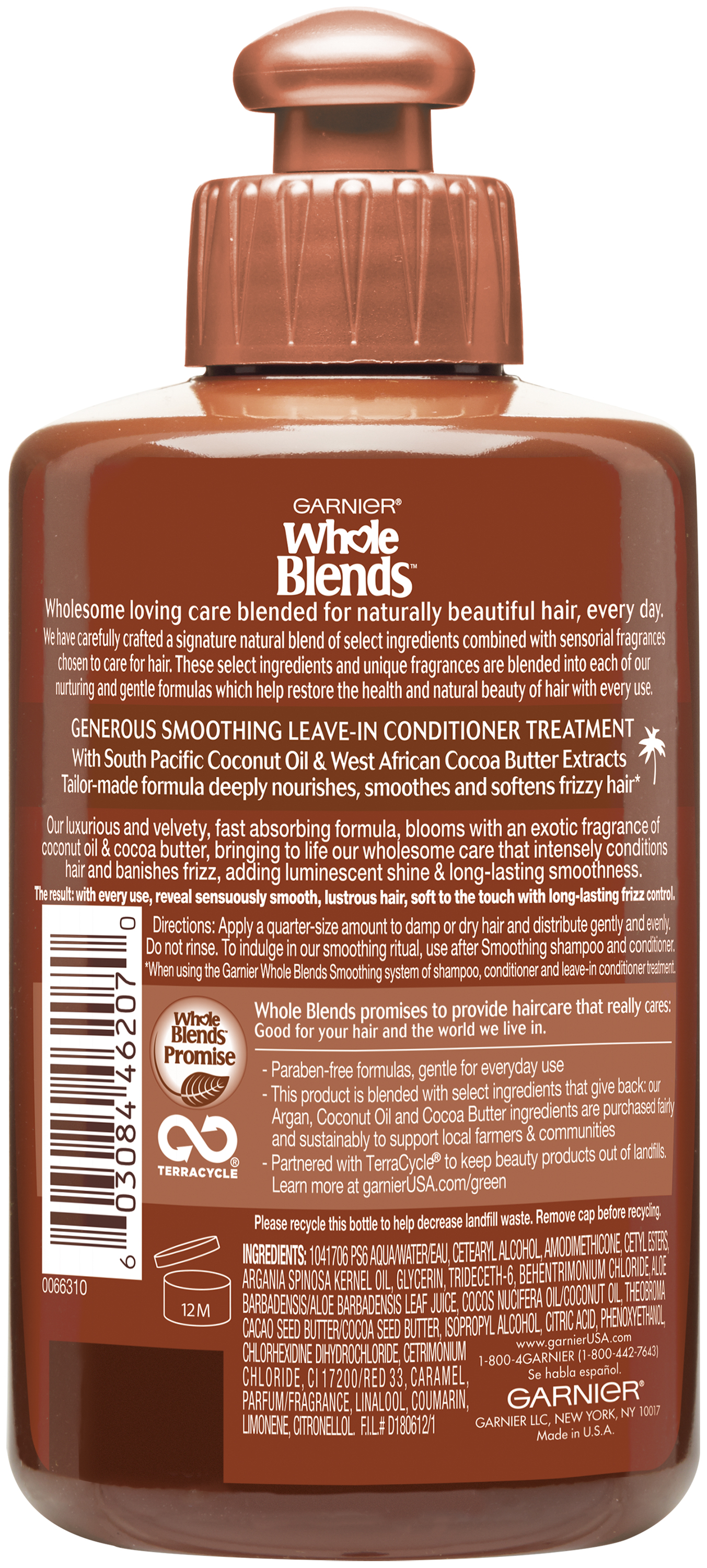 Garnier® Whole Blends™ Coconut Oil & Cocoa Butter Extracts Smoothing Leave-In Conditioner 10.2 fl. oz. Bottle