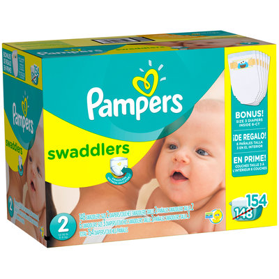 Pampers Swaddlers Size 2 with Bonus Diapers 154 Count