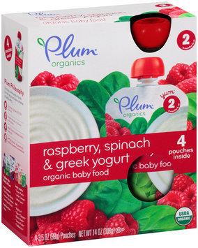 Plum™ Organics Yum™ Stage 2 Raspberry, Spinach & Greek Yogurt Organic Baby Food 4-3.5 oz. Pouches