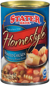 Stater Bros. Homestyle Roasted Chicken W/Rotini & Penne Pasta Ready to Serve Soup 18.6 Oz Can