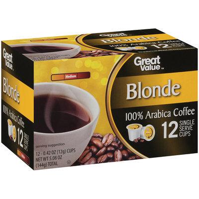 Great Value™ Blonde Medium 100% Arabica Coffee 12-0.42 oz. Cups