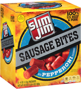 Slim Jim® Sausage Bites with Pepperoni Seasonings 5-4 oz. Packs