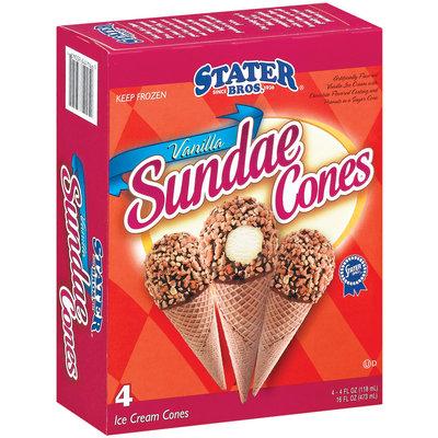 Stater Bros. Vanilla Sundae Cones Ice Cream 4 Ct Box
