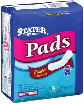 Stater Bros. Regular Absorbency Pads 22 Ct Bag
