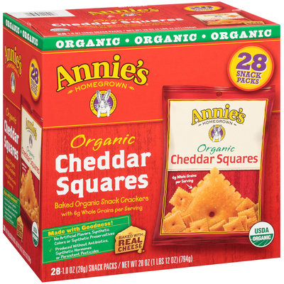 Annie's Homegrown® Organic Cheddar Squares Baked Snack Crackers