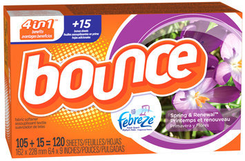 Bounce with Febreze Scent Spring & Renewal Fabric Softener Sheets 120 ct Box