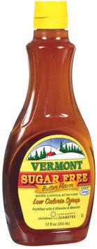 Vermont Butter Flavor Sugar Free Low Calorie Syrup 12 Fl Oz Plastic Bottle