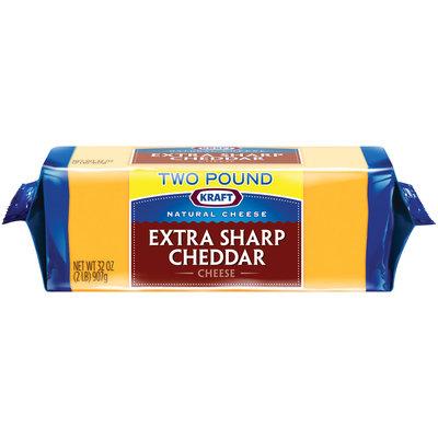 Kraft Natural Cheese Extra Sharp Cheddar Cheese 32 oz. Brick