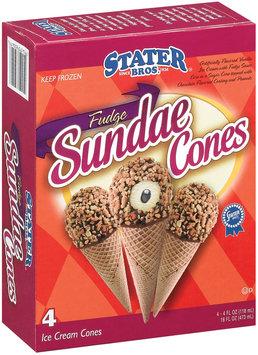 Stater Bros. Fudge Sundae Cones Ice Cream 4 Ct Box