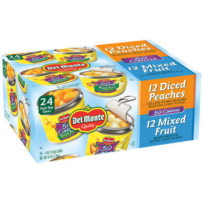 Del Monte™ 50 Calorie Variety Pack Mixed Fruit & Diced Peaches 24-4 oz. Pull-Top Cans
