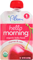 Plum Organics® Hello Morning™ Stage 1 Cherries & Oats Baby Food 3.5 oz. Pouch