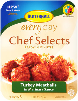 Butterball® Everyday Chef Selects Turkey Meatballs in Marinara Sauce 15 oz. Tray